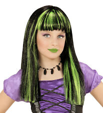 WITCH WIG CHILD SIZE GREEN AND BLACK  FANCY DRESS ACCESSORY HALLOWEEN
