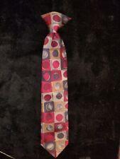 Vintage boys burgundy/gray/red clip on necktie 11 x 2