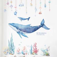 INS Vinyl DIY Dreamlike Whale Coral Wall Sticker Girls Bedroom Dormitory Decor