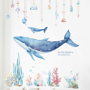 INS Vinyl DIY Dreamlike Whale Coral Wall Sticker Girls Bedroom Dormitory Decor