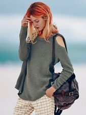 Free People Green Sunset Open Cold Shoulder Thermal Pullover Sweater S Rare