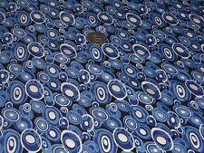 Léger crêpe imprimé multi cercles-bleu indigo-robe tissu-free p&p