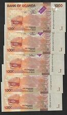 Uganda 1000 SHILLINGS 2010 P 49 UNC LOT X 5 PCS