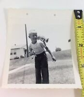 Vintage Photo Toothless Boy with Orange Tabby Trained Cat Climbing on Shoulders