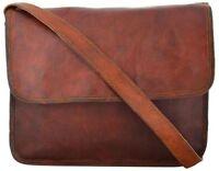 Men's Real Leather Vintage Brown Tote Messenger Shoulder Laptop Bag Briefcase