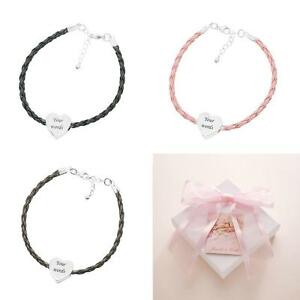Personalised Bracelet with ANY Engraving on Heart Bead, Leather & 925 Silver