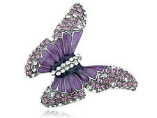 Adjustable Silver Tone Purple Rhinestones Butterfly Insect Ring
