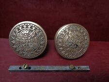 2 AUTHENTIC ANTIQUE BRASS - BRONZE DOOR KNOBS 1885 #07