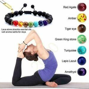 7 Chakra Healing Bracelet with Volcanic Lava, Mala Bracelet Meditation Bracelet