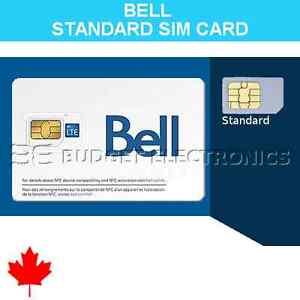 NEW Bell Mobility Standard Regular SIM Card Prepaid Postpaid Canada Travel