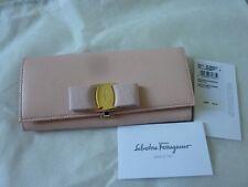 "$595 SALVATORE FERRAGAMO Ladies ""Vara"" Bow Leather Wallet 'Bonbon' w/ Logo - NEW"
