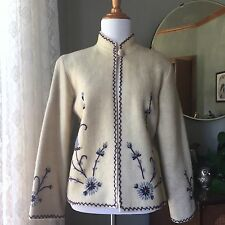 40s Jacket Wool Sweater Floral Embroidery Lined Coat 1940's Vintage Ivory Purple