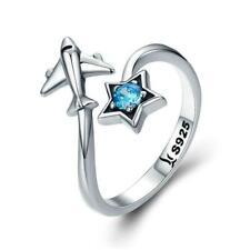 Star Tour & Plane 100% 925 Sterling Silver Adjustable Ring B01
