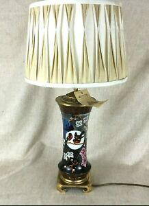 Antique Table Lamp French Limoges Porcelain Hand Painted Aesthetic Movement