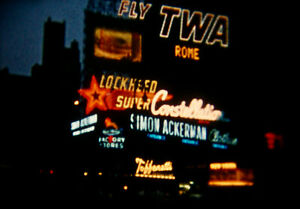 8mm Home Movie NYC New York City Times Square Billboards Neon 1956 Vintage