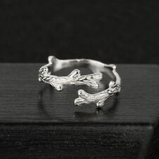 Women Vintage 925 Silver Plated Leaf Branch Adjustable Open Rings Finger Jewelry