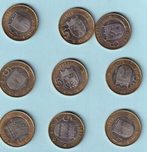 9 pièces de 5 € FINLANDE 2010 -2011 les blasons