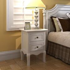 Set of 2 Pair Wooden Bedside Cabinet Nightstand Bedroom Table Shabby Chic White