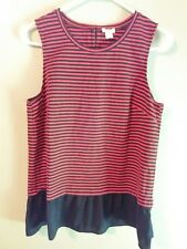 J Crew Women's Sleeveless Top Blouse Size Small Orange & Blue Striped