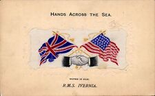 More details for woven silk. rms ivernia hands across the sea by stevens. cunard line.