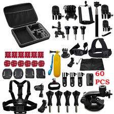 60 Pcs Accessories Set For GoPro Hero 2 3 3+ 4 5 SJCAM HeadChest Strap Pole UKES