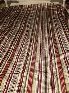 Pottery Barn Silk Striped King Size Duvet Cover Multicolor Button Closure