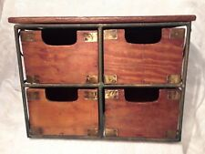 ANTIQUE WOOD & METAL 4 DRAWER CONTAINER