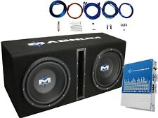 "MTX Magnum MB210SP 1200 Watt Dual 10"" Sub Box AND Mono Amplifier AND Amp Kit"