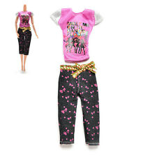 2Pcs/set Vêtements poupée féminine pour Barbies  Casual T-Shirt Pants FTR