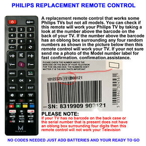 PHILIPS TV REMOTE CONTROL A REPLACEMENT THAT WORKS MANY PHILIPS LCD/LED TVs