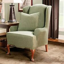NEW Stretch stripe Sage Green Wing chair slip cover by sure fit slipcover