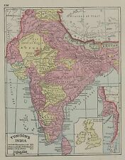 1889 H. G. Tunison's India (Original Antique Map with Hand Color )