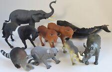 Plastic Animal Lot Of 9: ELEPHANT, KOALA, RHINO, WHALE, OXEN, RACCOON HORSE WOLF