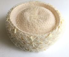 Vintage Off White Pill Box Ribbon and Veil Hat