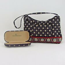 Vera Bradley French Country Print Hobo Handbag & Hard Eyeglass Case Black