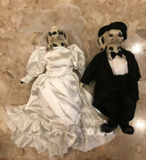 "Vintage Pair Of 15"" Dalmation Bride In Gown Veil And Groom In Tuxedo Hat Dolls"
