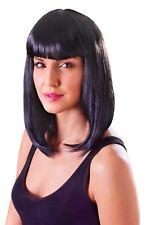 Ladies Shoulder Length Black Wig With Fringe Cheerleader Katy Perry Fancy Dress