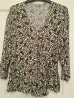 Autumn Leaves Top Womens size 16 Green Brown New no tag crossover front Cl4