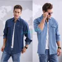 Mens Long-Sleeved Solid Color Denim Shirt Cotton Tops Blue Jean Shirt Autunm Hot