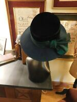 "GORGEOUS DARK GREEN ""WHITTHALL & SHON"" LADIES DRESSY WIDE BRIM HAT"