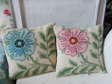Vintage needlepoint tapestry floral cushion covers x 2 & cushions good condition