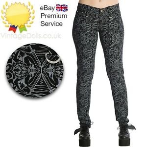 New Banned Apparel Amiria Emo Punk Skinny Goth Jeans Pants Low Waist Trousers