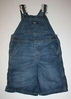 New OshKosh Boys Denim Blue Jean Short Overalls 12m 18m 2T Vestbak Stripe Straps