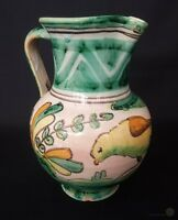 Antique Continental Pottery Pitcher w Bird Design 7½ Inch | FREE Delivery UK*