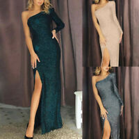 Women Sequined Stitching Off Shoulder Shining Banquet Evening Dress Sheath Gown