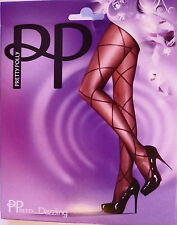 Pretty Polly One Size Sheer Diamond Lace up Tights in Black