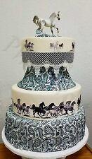 Western Horses Gray Scale Pre Printed Pre cut Cake Wraps