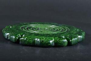 #36: Japanese Raku-ware Green glaze TEA KETTLE TRAY Saucer Stand Teapot, auto