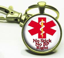 No Stick No BP Right Medical Alert Glass Top Key Chain Medical Condition Alert