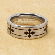 Dura Cobalt Ring with Laser Black Bands and Crosses Comfort Fit Size 10